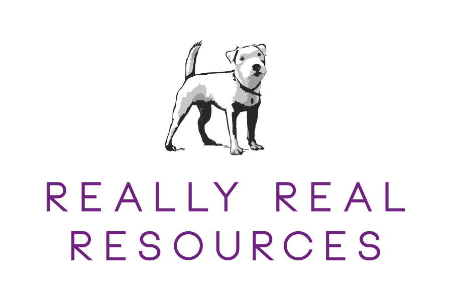 Really real resources logo - Dave the terrier